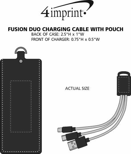 Imprint Area of Fusion Duo Charging Cable with Pouch