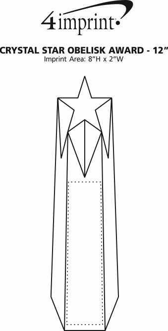 """Imprint Area of Crystal Star Obelisk Award - 12"""""""