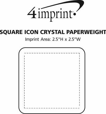 Imprint Area of Square Icon Crystal Paperweight