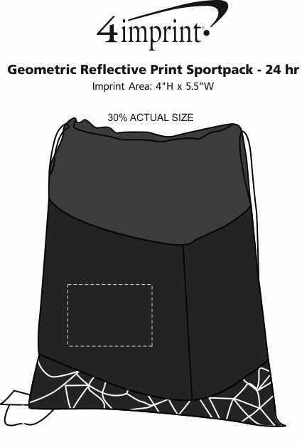Imprint Area of Geometric Reflective Print Sportpack - 24 hr