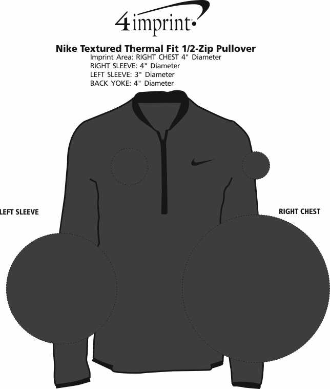 Imprint Area of Nike Textured Thermal Fit 1/2-Zip Pullover