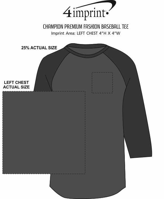 Imprint Area of Champion Premium Fashion Baseball Tee