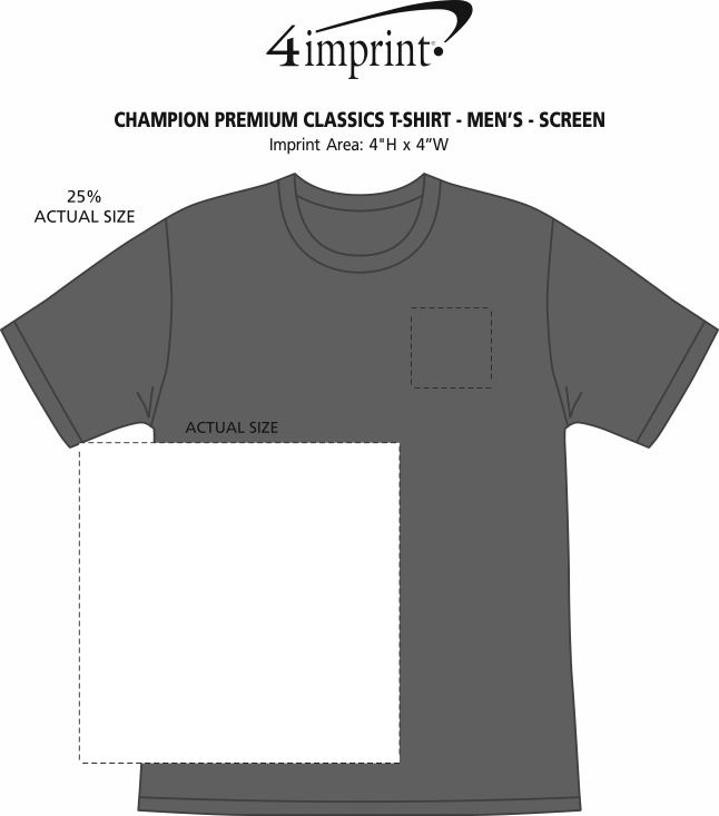 Imprint Area of Champion Premium Classics T-Shirt - Men's - Screen