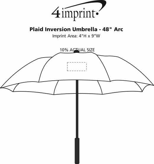 """Imprint Area of Plaid Inversion Umbrella - 48"""" Arc"""
