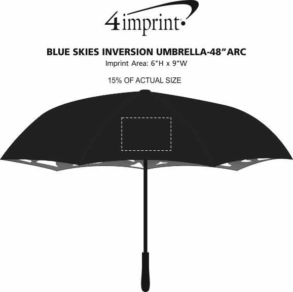 "Imprint Area of Blue Skies Inversion Umbrella - 48"" Arc"