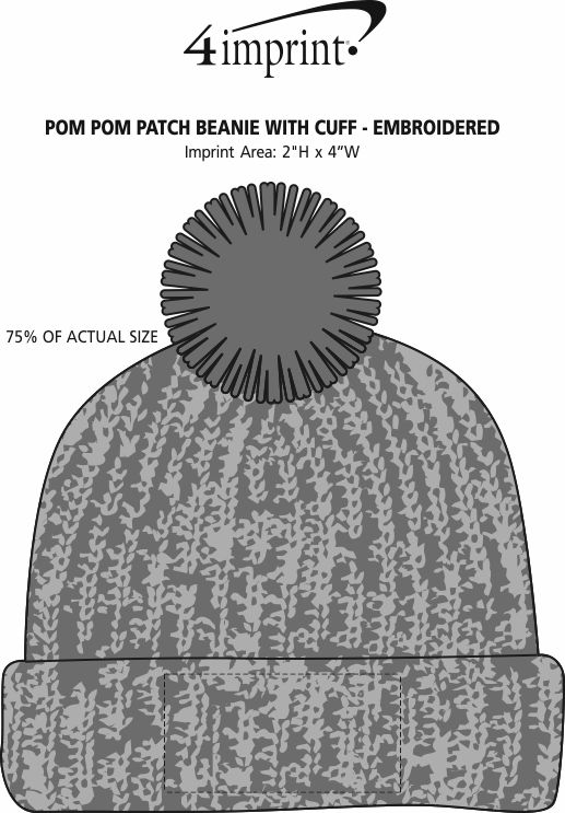Imprint Area of Pom Pom Beanie with Cuff - Embroidered