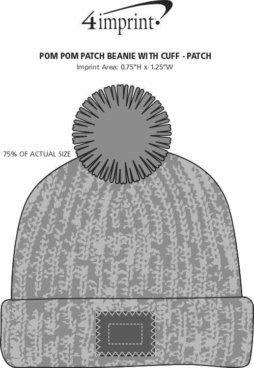 Imprint Area of Pom Pom Beanie with Cuff - Patch