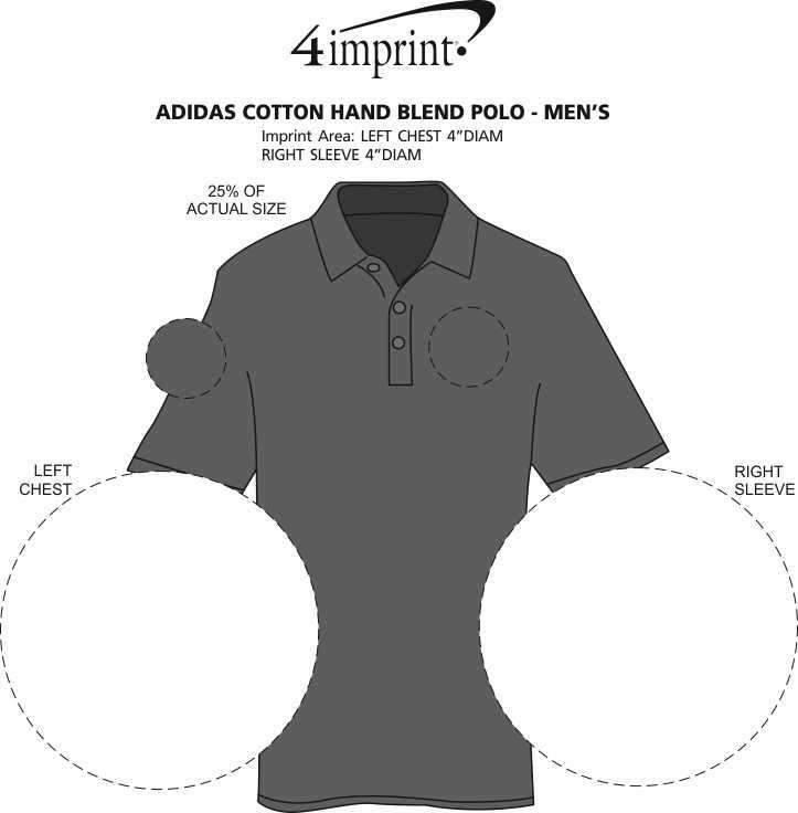 Imprint Area of adidas Cotton Hand Blend Polo - Men's