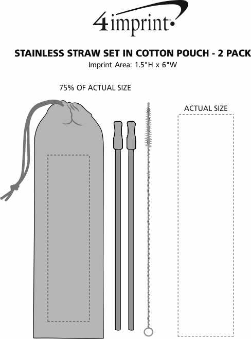 Imprint Area of Stainless Straw Set in Cotton Pouch - 2 Pack