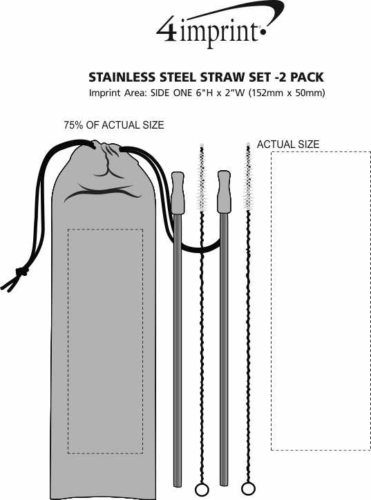 Imprint Area of Stainless Steel Straw Set - 2 Pack