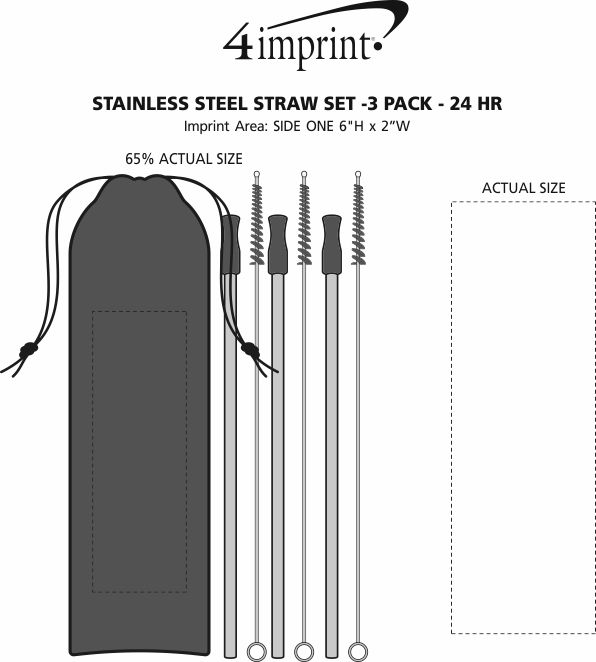 Imprint Area of Stainless Steel Straw Set - 3-pack - 24 hr