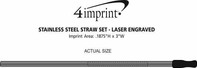 Imprint Area of Stainless Steel Straw Set - Laser Engraved