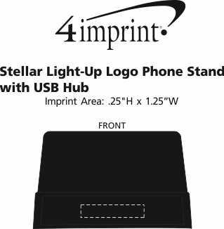 Imprint Area of Stellar Light-Up Logo Phone Stand with USB Hub