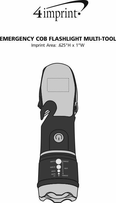 Imprint Area of Emergency COB Flashlight Multi-Tool