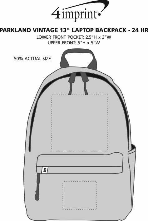"""Imprint Area of Parkland Vintage 13"""" Laptop Backpack - 24 hr"""