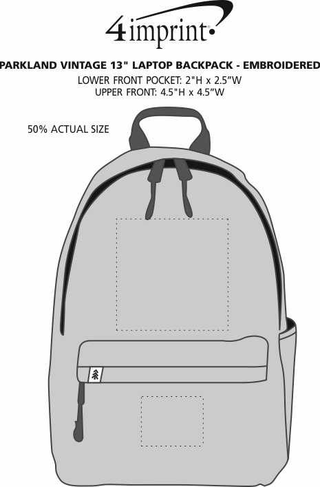 """Imprint Area of Parkland Vintage 13"""" Laptop Backpack - Embroidered"""