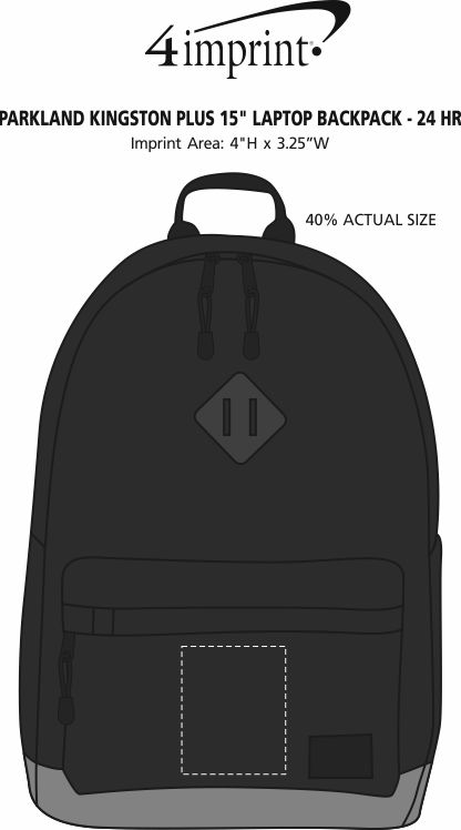 "Imprint Area of Parkland Kingston Plus 15"" Laptop Backpack - 24 hr"