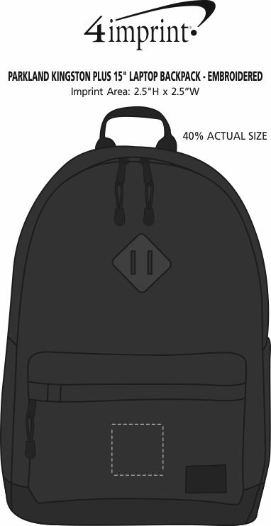"Imprint Area of Parkland Kingston Plus 15"" Laptop Backpack - Embroidered"