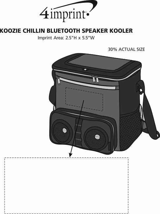 Imprint Area of Koozie® Chillin Bluetooth Speaker Kooler