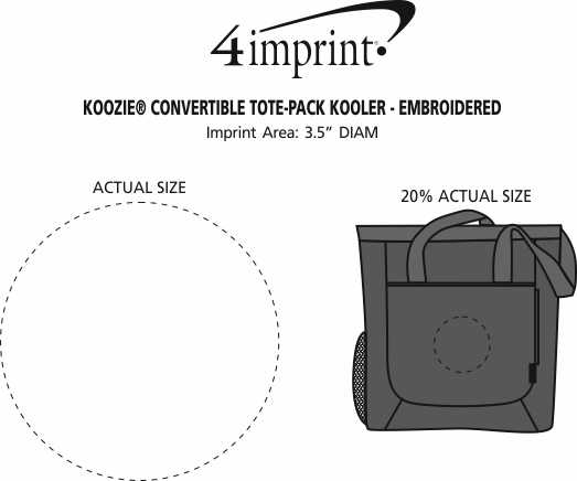 Imprint Area of Koozie® Convertible Tote-Pack Kooler - Embroidered