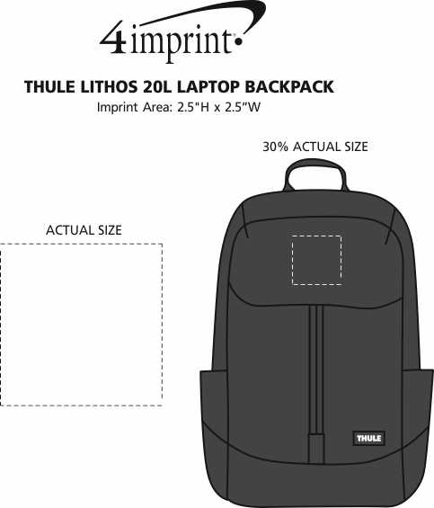 Imprint Area of Thule Lithos 20L Laptop Backpack