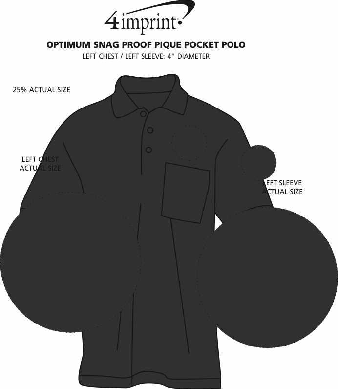 Imprint Area of Optimum Snag Proof Pique Pocket Polo