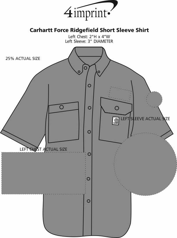 Imprint Area of Carhartt Force Ridgefield Short Sleeve Shirt