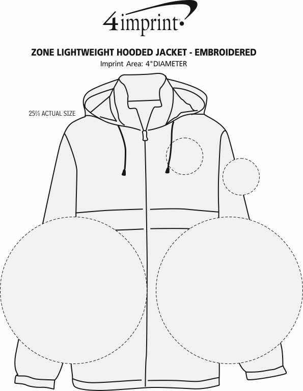 Imprint Area of Zone Lightweight Hooded Jacket - Embroidered