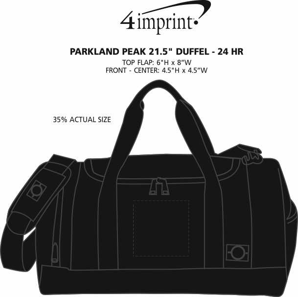 """Imprint Area of Parkland Peak 21.5"""" Duffel - 24 hr"""