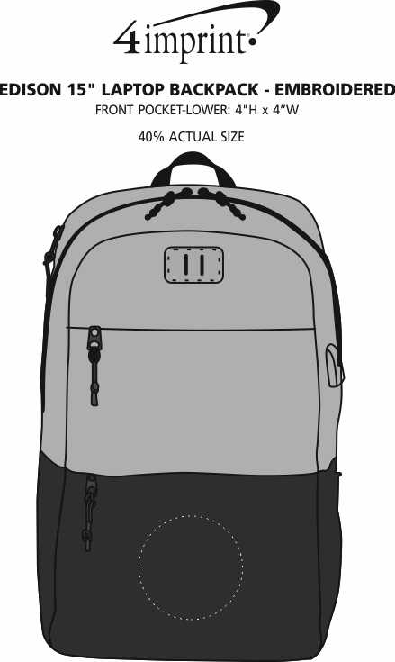 "Imprint Area of Edison 15"" Laptop Backpack - Embroidered"