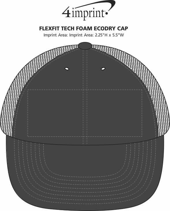 Imprint Area of Flexfit Tech Foam EcoDry Cap