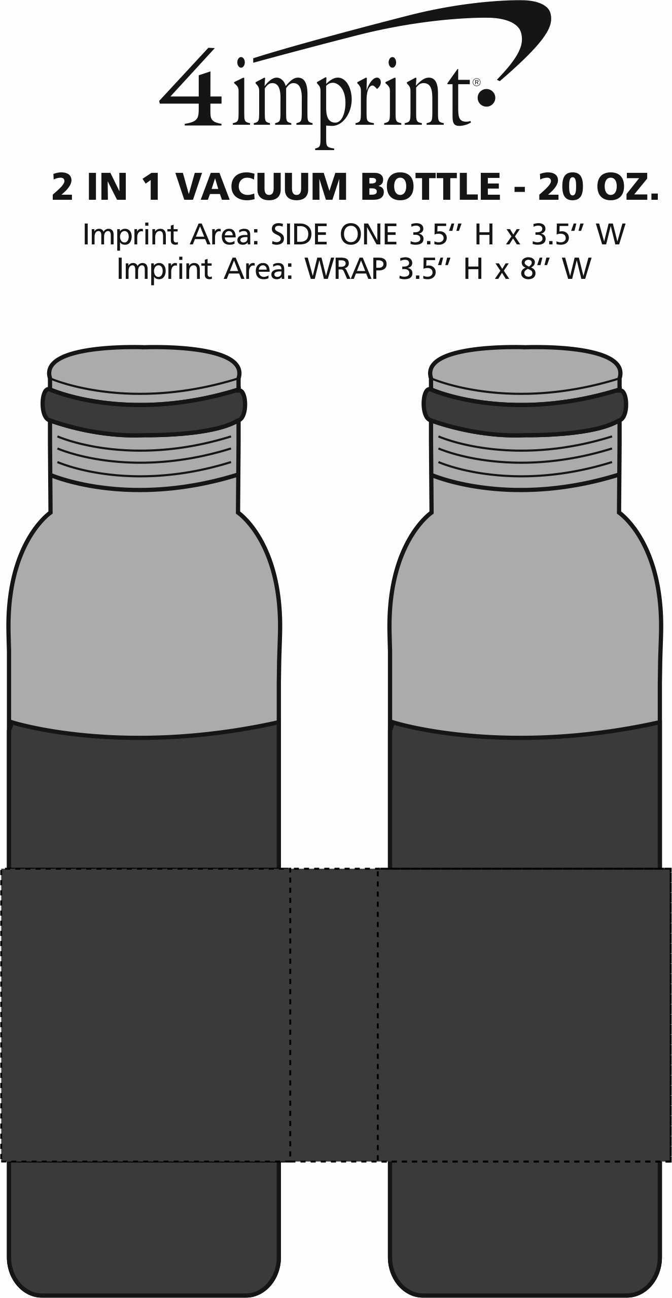 Imprint Area of 2-in-1 Vacuum Bottle - 20 oz.