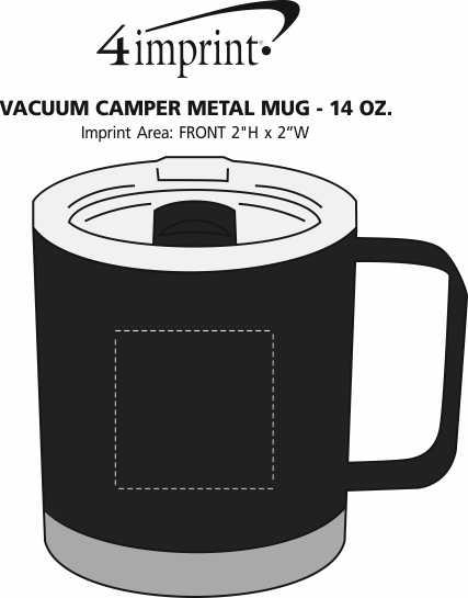 Imprint Area of Vacuum Camper Metal Mug - 14 oz.
