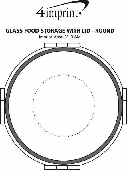 Imprint Area of Glass Food Storage with Lid - Round