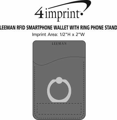 Imprint Area of Leeman RFID Smartphone Wallet with Ring Phone Stand