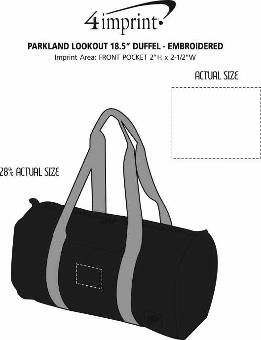 "Imprint Area of Parkland Lookout 18.5"" Duffel - Embroidered"