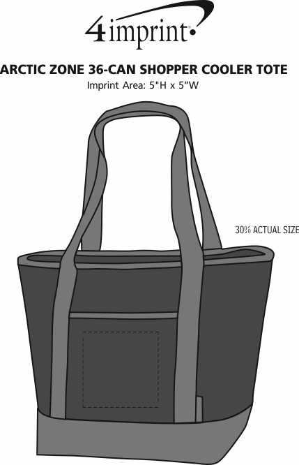 Imprint Area of Arctic Zone 36-Can Shopper Cooler Tote