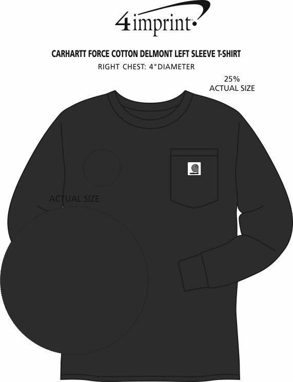 Imprint Area of Carhartt Force Cotton Delmont LS T-Shirt