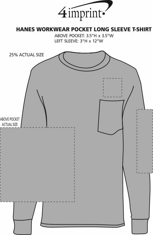 Imprint Area of Hanes Workwear Pocket Long Sleeve T-Shirt