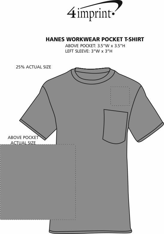 Imprint Area of Hanes Workwear Pocket T-Shirt
