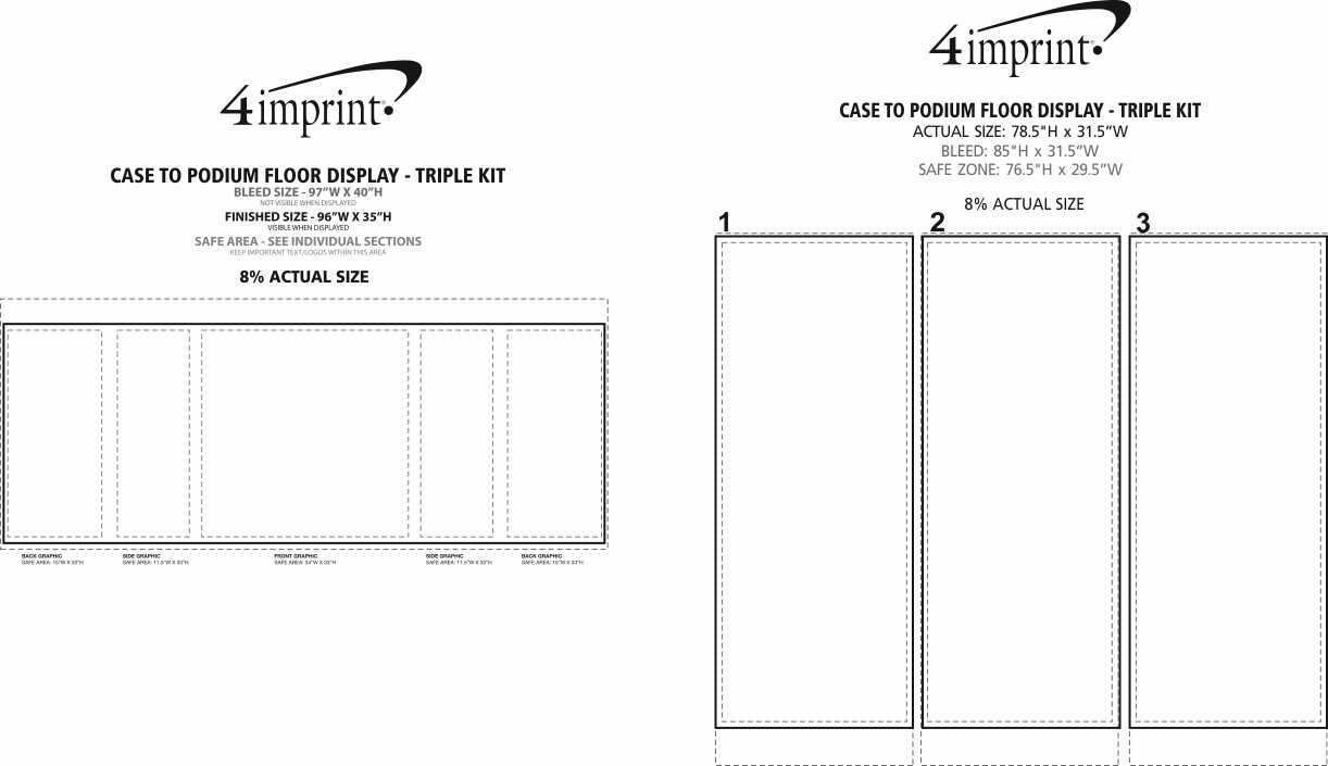 Imprint Area of Case to Podium Floor Display - Triple Kit