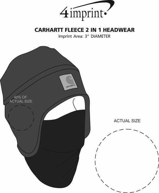 Imprint Area of Carhartt Fleece 2-in-1 Headwear