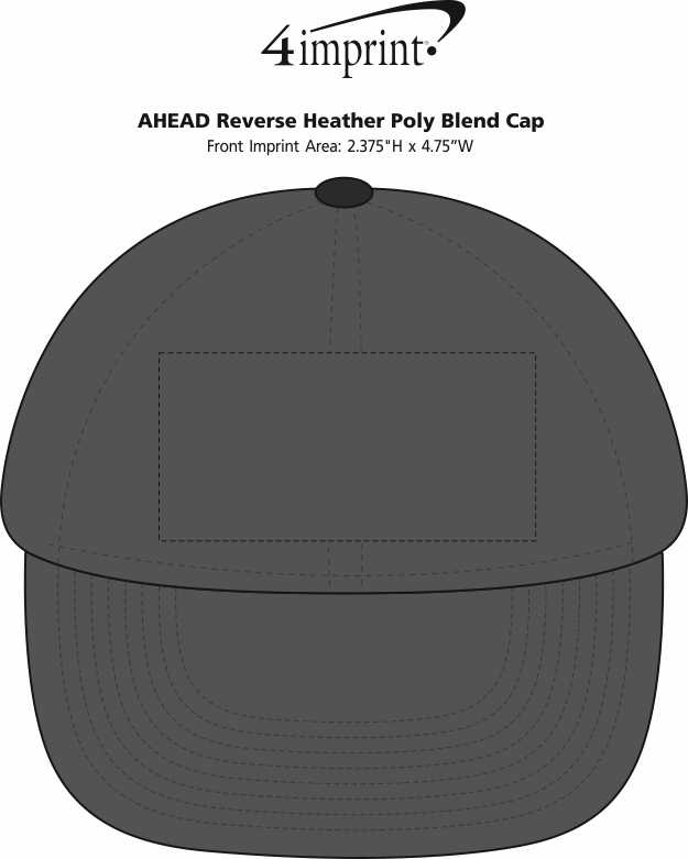 Imprint Area of AHEAD Reverse Heather Poly Blend Cap