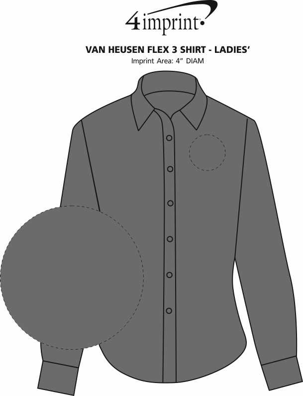 Imprint Area of Van Heusen Flex 3 Shirt - Ladies'