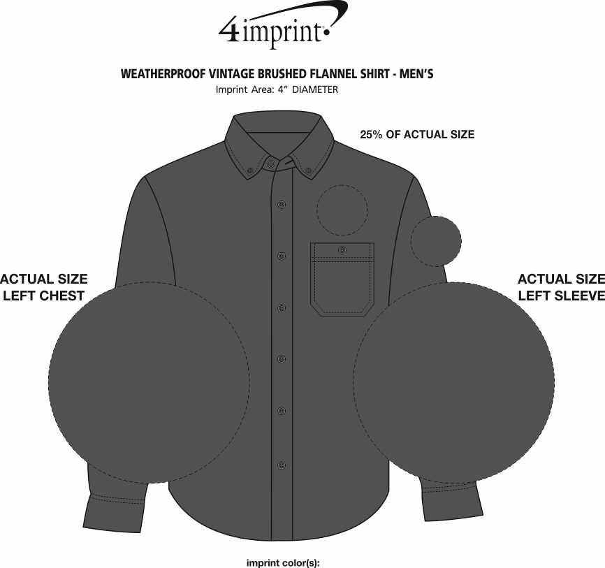 Imprint Area of Weatherproof Vintage Brushed Flannel Shirt - Men's