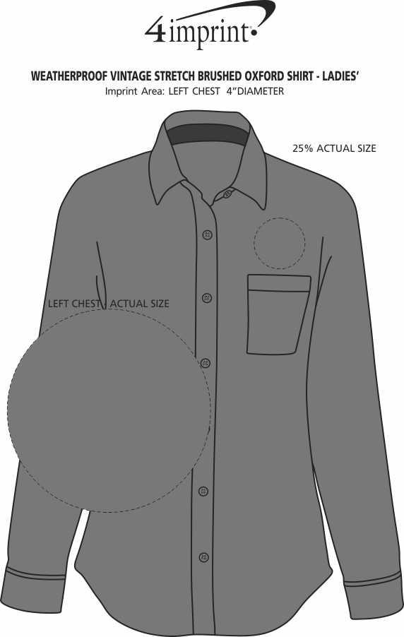 Imprint Area of Weatherproof Vintage Stretch Brushed Oxford Shirt - Ladies'
