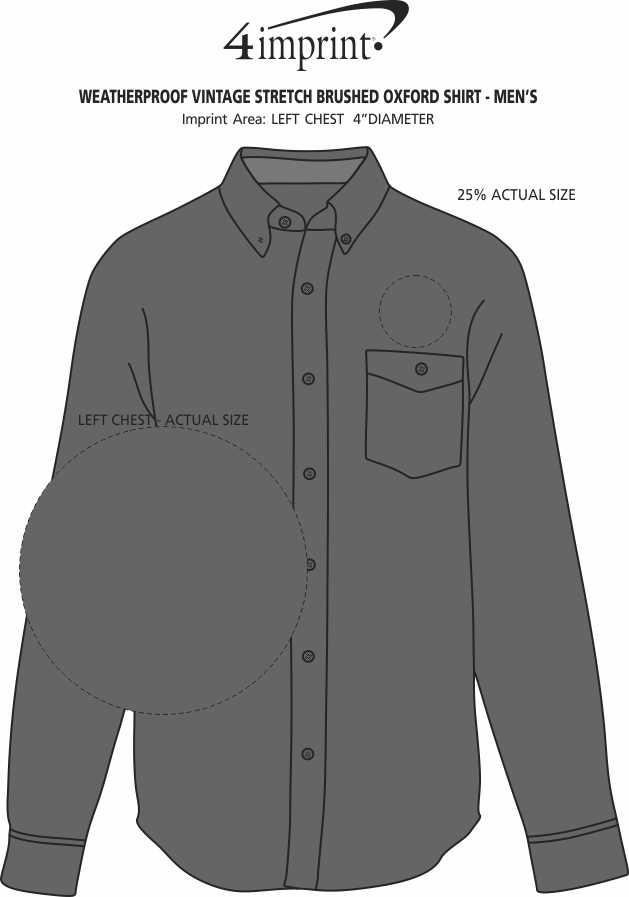 Imprint Area of Weatherproof Vintage Stretch Brushed Oxford Shirt - Men's