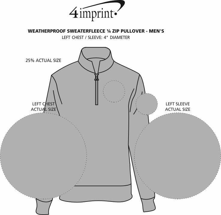 Imprint Area of Weatherproof Sweaterfleece 1/4-Zip Pullover - Men's