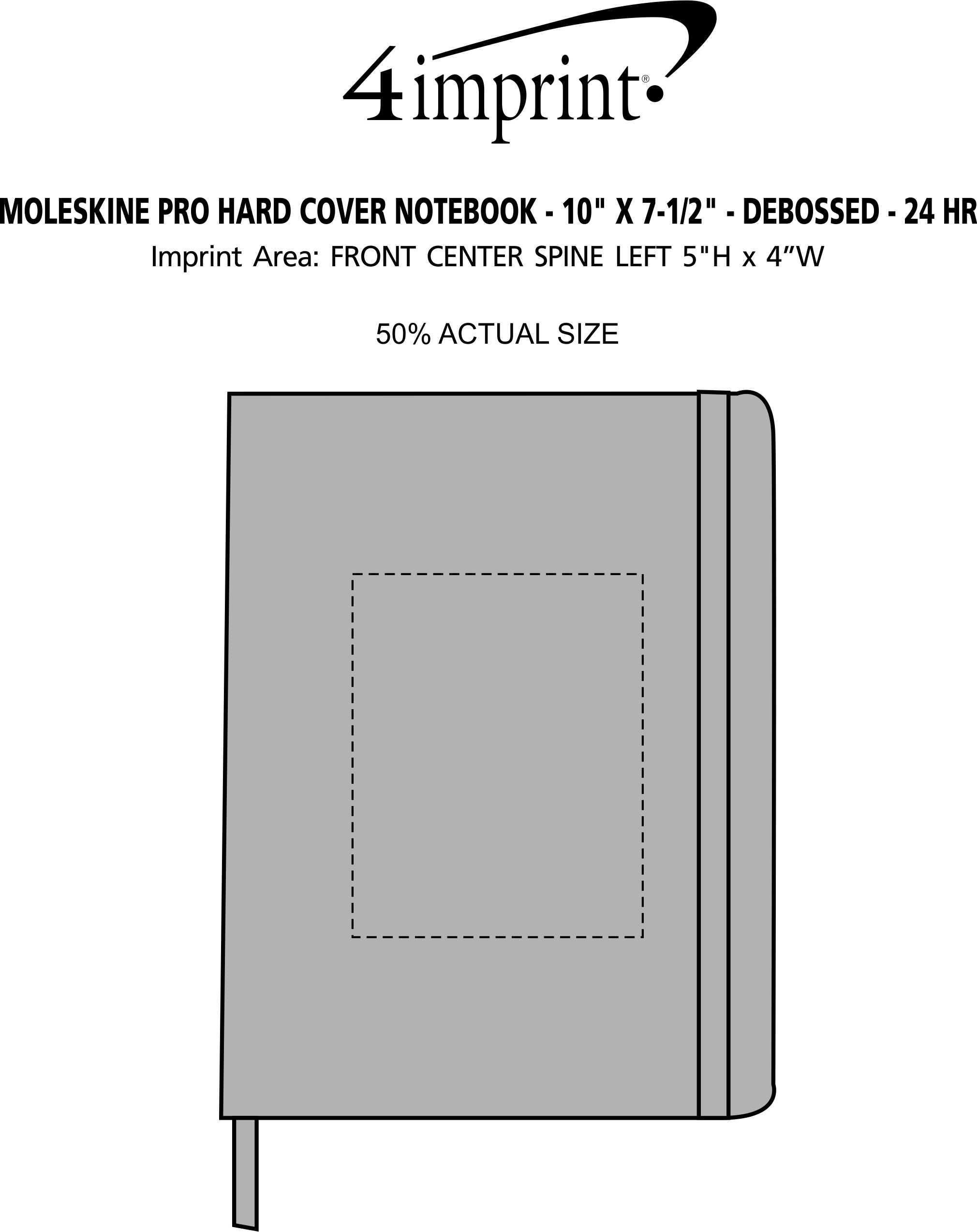 "Imprint Area of Moleskine Pro Hard Cover Notebook - 10"" x 7-1/2"" - Debossed - 24 hr"