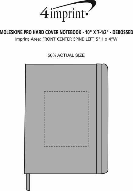 "Imprint Area of Moleskine Pro Hard Cover Notebook - 10"" x 7-1/2"" - Debossed"